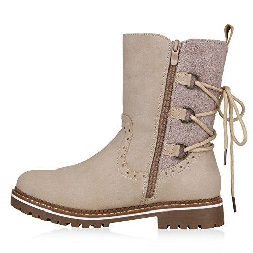 Stiefelparadies Damen Schuhe Stiefeletten Warm Gefütterte Winterboots Profilsohle Stiefel Flandell Creme Brito