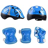 Kid's Skateboard Helmet Sets Cycling Roller Skating Helmet Elbow Knee Pads Wrist Sport Safety Protective Guard Gear Set for Children of age 3-8 years old (Blue)