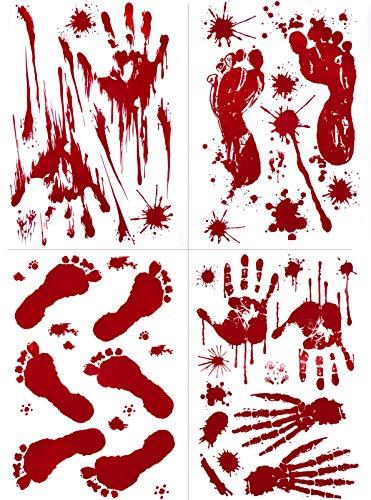 8 Sheets 80 PCS Bloody Footprints Handprint Stickers