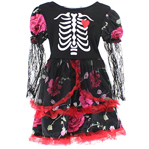 Girls Skeleton Costume Kids Halloween Fancy Dress Day Of The Dead Cosplay (Halloween Day Dress)
