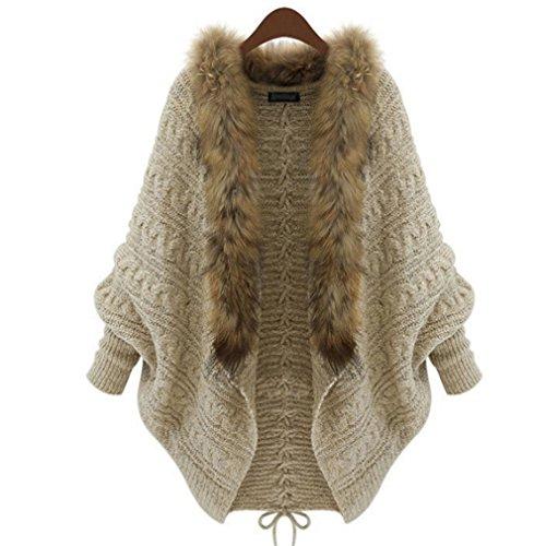 Iumer Women's Cardigan Jacket Fur Batwing Sleeve Cardigan Jacket Shawl Coat Outwear Parka