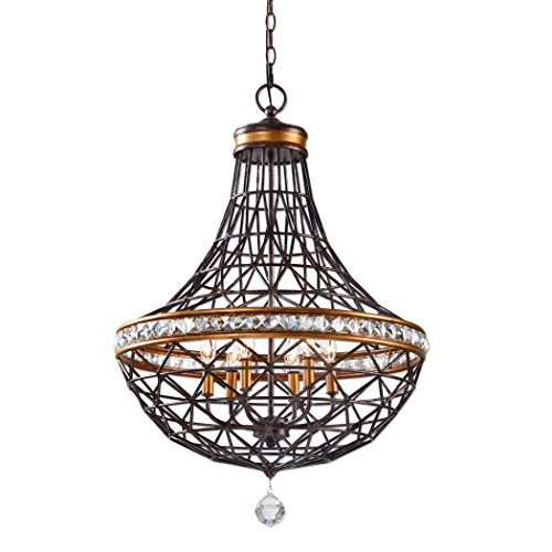 Contemporary Bronze 6 Bulb Metal Basket Chandelier for sale  Delivered anywhere in USA