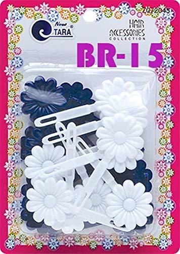 Tara Girls Self Hinge Plastic Flower Hair Barrettes 18 Pieces Selection (Blue White)