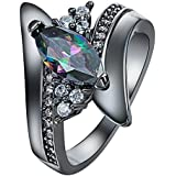 Colorful Crystal Ring Black Gold Filled Ring Size 6-9 Rings Engagement WelcomeShop (9)