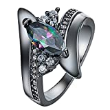 LOVE STORY Size 6-10 Round Black Sapphire Big Stone Wedding Ring Women/Men's Band Ring nogluck (#6)
