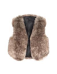 MIOIM Kids Toddler Girls Faux Fur Vest Outerwear Winter Warm Gilet Jacket Waistcoat