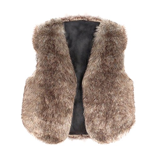 MIOIM Kids Toddler Girls Faux Fur Vest Sleeveless Outerwear Winter Warm Gilet Jacket Waistcoat]()
