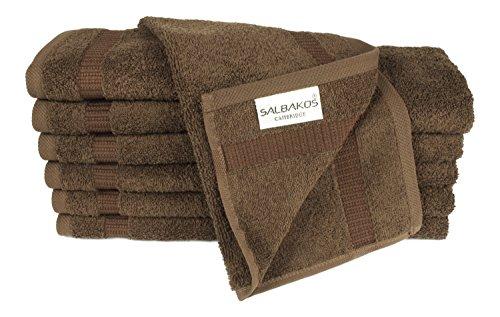 SALBAKOS Luxury Hotel & Spa Turkish Cotton 12-Piece Eco-Friendly Washcloth Set for Bath, 13 x 13 Inch, Chocolate