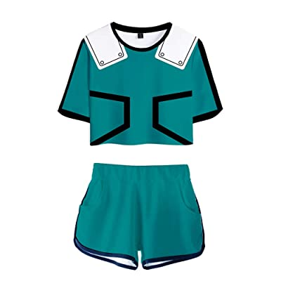 My Sky 2 Piece Boku No Hero Outfits for Women Crop Top and Short Pants Sets: Clothing