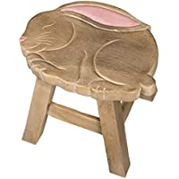 Bunny Design Hand Carved Acacia Hardwood Decorative Short Stool