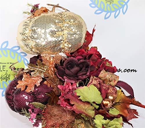 Fall Pumpkin Glam Centerpiece, Bling Gold Burgundy Sequin Table Decor, Metallic Gold Wine Foyer Decoration, Hostess Gift, Plum Pumpkin