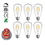 Vintage Edison LED Bulb,Dimmable 3.5W ST64 Antique Light Bulbs 40 Watt Equivalent,E26, 2700K ,Warm White Pack of 6