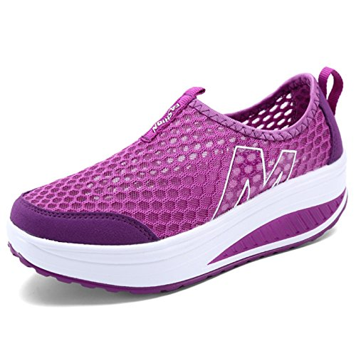 Sneaker Damen Plateau Atmungsaktiv Mesh Turnschuhe Frauen Leicht Outdoor Wedges Sportschuhe Größe 35-42 Z-violett