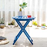 Cheap Magshion Wood Shell Shape Bistro Folding Patio Table Balcony Side Table (Blue)