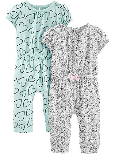 Simple Joys by Carter's Girls' 2-Pack Fashion Jumpsuits, Blue Hearts/Gray, 18 Months