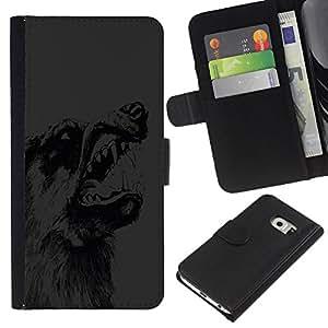 KLONGSHOP // Tirón de la caja Cartera de cuero con ranuras para tarjetas - Lobo Dientes perro salvaje Animal Bosque Dibujo Lápiz - Samsung Galaxy S6 EDGE //