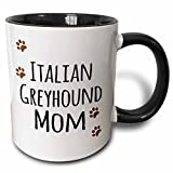 3dRose 3dRose Italian Greyhound Dog Mom - Doggie by breed - brown paw prints love doggy lover proud pet owner mama - Two Tone Black Mug, 11oz (mug_154140_4), , Black/White