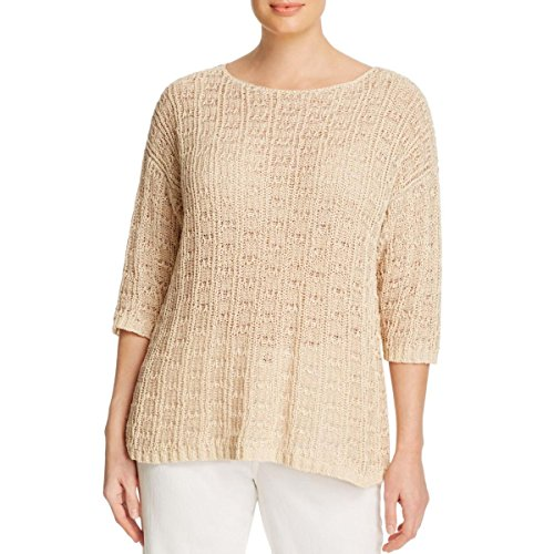 Eileen Fisher Womens Plus Three-Quarter Length Boatneck Pullover Sweater Tan 3X