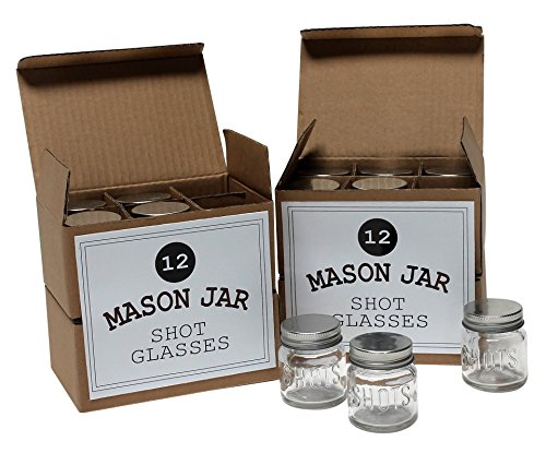 Mason Jar 2 Ounce Shot Glasses Set of 48 With Leak-Proof Lids - Great For Shots, Drinks, Favors, Candles And (Wedding Mason Jars)
