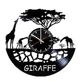 Handmade Vinyl Wall Clock Handmade Vinyl Wall Clock Africa Elephants Giraffes Vinyl Clock Record Wall Clock Art Decor Unique