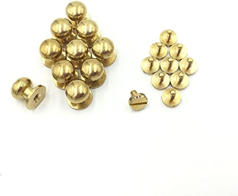 Pack of 10 Solid Brass Leather Craft Chicago Screw Posts Rivet Buttons 10mm