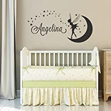 """Personalized Name Wall Decal Fairy Name Nursery Wall Decal Girls Bedroom Decor Art Moon Stars Wall Stickers (Black,11"""" h x 22"""" w)"""