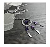 Fusicase Creative Design Women's Dangling Feather Purple Crystal Stone Charms Filigree Tribal Dreamcatcher