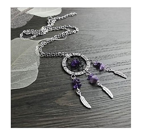 Fusicase Creative Design Women's Dangling Feather Purple Crystal Stone Charms Filigree Tribal Dreamcatcher Pendant Chain Necklace