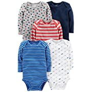 Simple Joys by Carter's Baby Boys' 5-Pack Long-Sleeve Bodysuit, Blue/Red/Grey, 6-9 Months