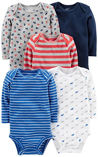Simple Joys by Carter's Baby Boys' 5-Pack Long-Sleeve Bodysuit, Blue/Red/Grey, 3-6 Months
