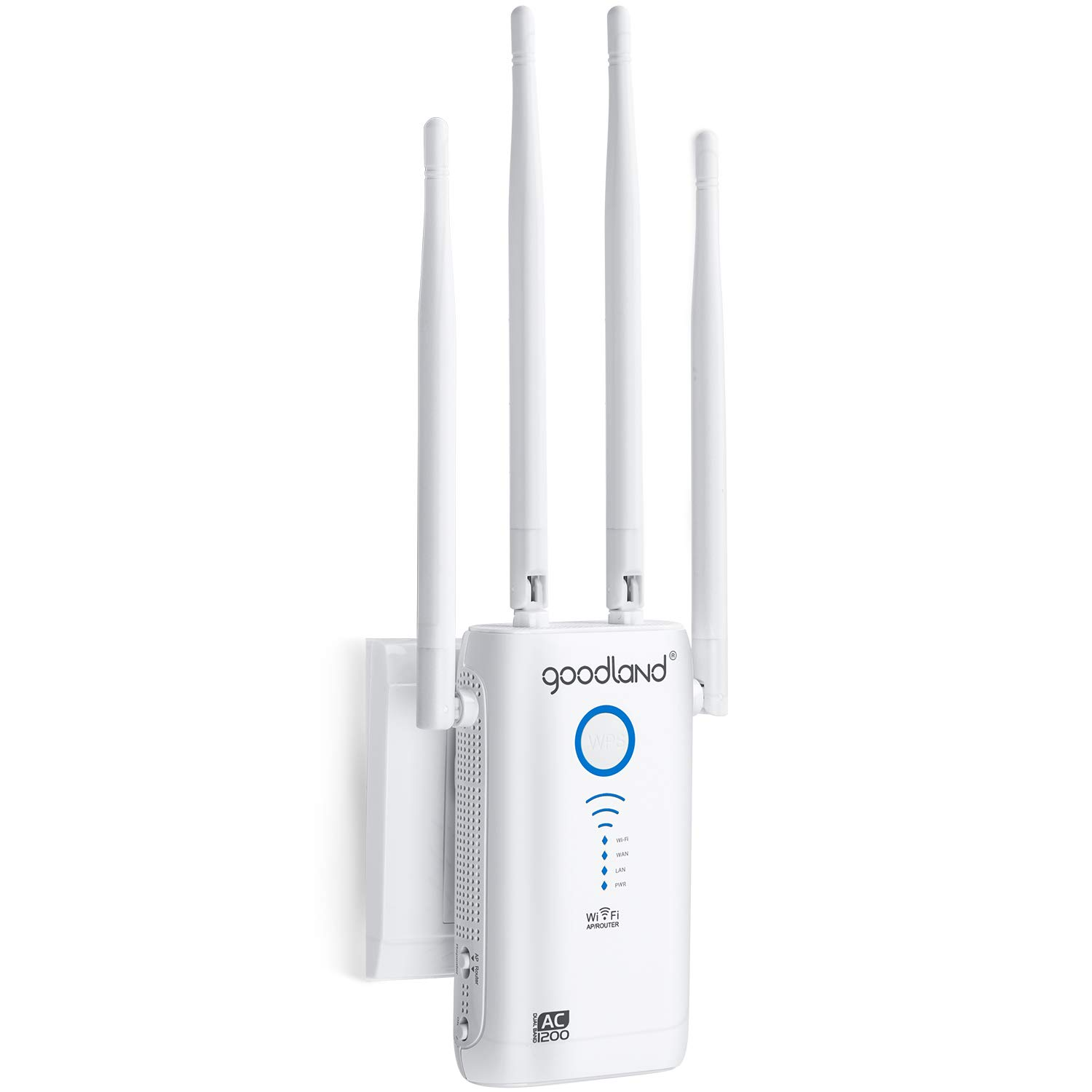 Goodland AC1200 WiFi Range Extender - 1200Mbps 2.4/5Ghz Dual Band Wi-Fi Signal Booster - Repeater/Wireless Router/Access Point for Smart Home & Alexa Devices,Easy Setup
