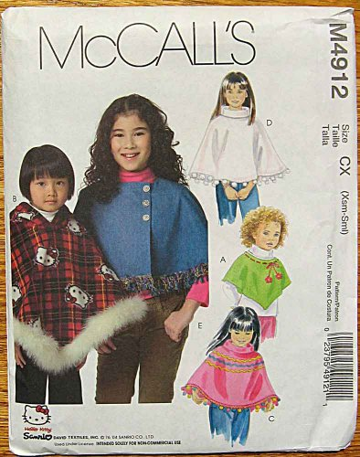 Maribou Trim (McCall's 4912 Sewing Pattern ~ Children's, Girl's Hello Kitty Ponchos, Size XSmall-Small (3-6))