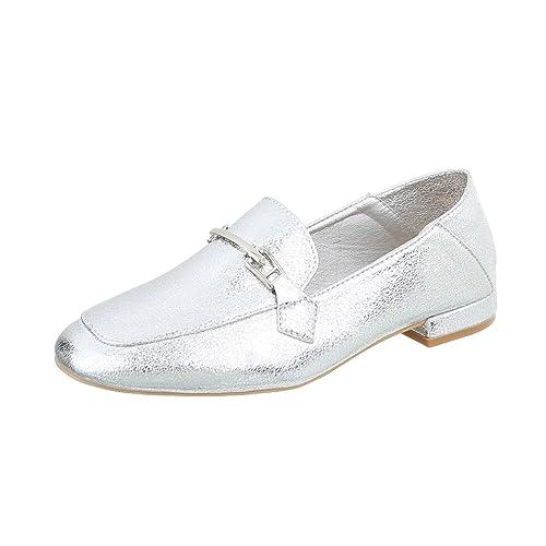 Zapatos para mujer Mocasines Tacón ancho Slip-on Plateado Tamaño 37: Amazon.es: Zapatos y complementos