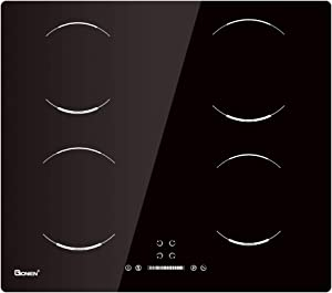 24 Inch Electric Cooktop Induction Stove, GIONIEN Built-in Cooker Smoothtop with 4 Booster Burners, 220V 6000W Touch Control, GIB464SC