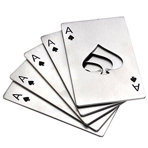 Yoption 5Pcs Stainless Steel Credit Card Size Casino Bottle Opener Beer Bottle Opener for Your Wallet(5, Poker)