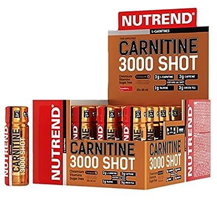 Nutrend CARNITINE 3000 SHOT 20x60ml fresa Deportes taurina, cafeína, monodosis Práctica, extracto de
