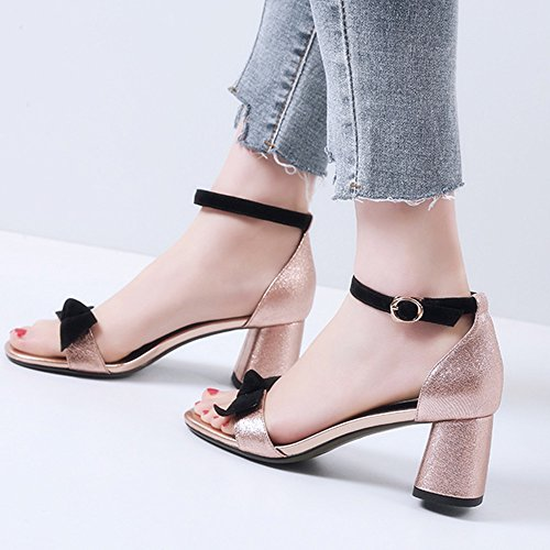 farve Spids Størrelse 36 Rund Sandaler Pink Hud Med Ledninger Kvinde Tykke Anchengkao 3 Eu Pink Og 2 Søde Sv8qF