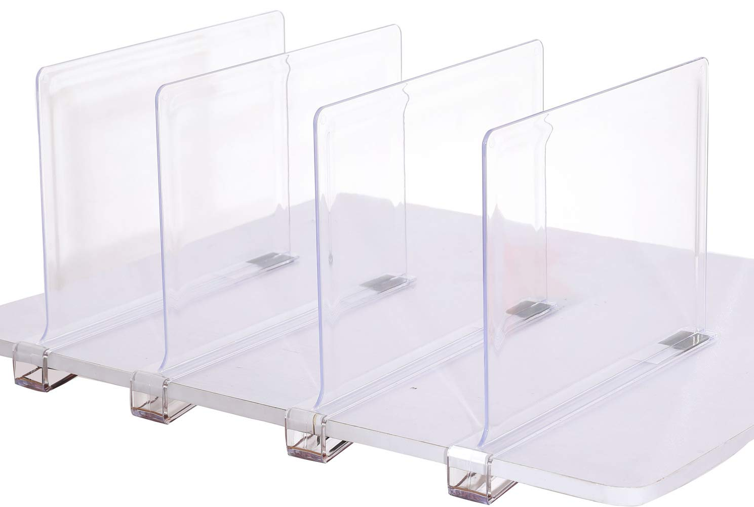 Sooyee Beautiful 4 PCS Acrylic Shelf Dividers, Perfect Perfect for Closets Kitchen Bedroom Shelving Organization to Organize Clothes Closet Shelves, Books,Towels and Hats, Purses Separators,Clear. by Sooyee