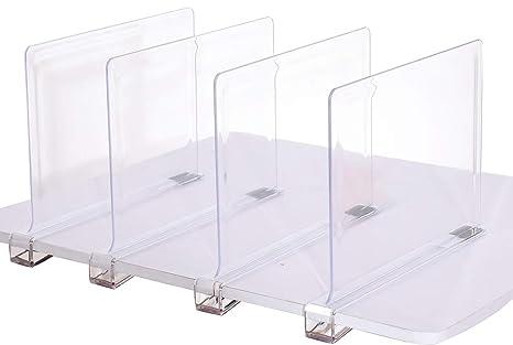 sooyee Beautiful 4 pcs acrílico estante divisores, perfecto para el dormitorio armarios cocina organización de