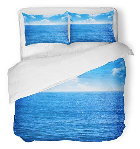 1 Bath Light Ripple (Emvency 3 Piece Duvet Cover Set Brushed Microfiber Fabric Breathable Ocean Blue Sea and Sky with White Clouds Open Calm Horizon Water Nobody Day Bedding Set with 2 Pillow Covers Twin Size)