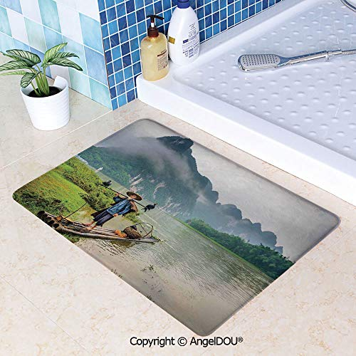 SCOXIXI Living Room Bedroom Carpet Thicken Non-Slip Mat Traditional Chinese Fisherman with Birds and Basket on River Fog Mountains Trees for Home Hotel Cafe Restaurant Area Rugs.W15.7xL23.6(inch) ()