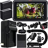 Atomos Ninja V 5'' 4K HDMI Recording Monitor with Power Bundle & Accessory Kit – Includes: 2x Extended Life NP-F975 Batteries with Charger, Action Grip Stabilizer, Rotating Monitor Mount & MORE
