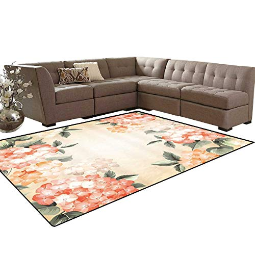 (Floral Bath Mat 3D Digital Printing Mat Blooming Hydrangea Flowers Leaves Bouquet Vintage Style Spring Nature Print Extra Large Area Rug 6'6