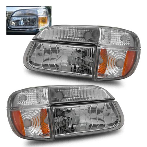 SPPC Crystal Headlights Assembly Set with Corner Chrome For Ford Explorer - (Pair) Driver Left and Passenger Right Side Replacement