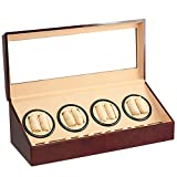 BRAND NEW BURL WOOD 8+12 AUTOMATIC QUAD DUAL / DOUBLE WATCH WINDER 12 DISPLAY STORAGE BOX CASE