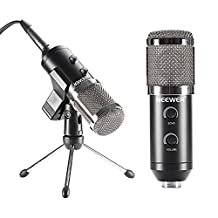 Neewer Professional USB Condenser Microphone with Butterfly Clip,Desktop Tripod Stand,XLR Female to USB and 3.5mm Male Split Cable,Ball-type Windscreen Foam for Recording,Podcast,YouTube Video (Black)
