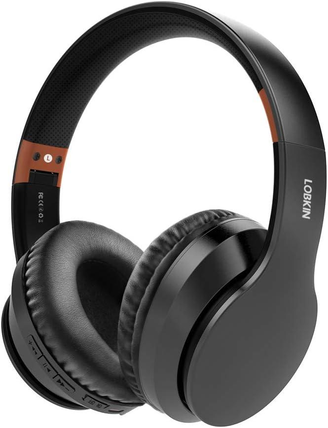 Auriculares inalámbricos LOBKIN, micrófono incorporado manos libres Bluetooth 5.0 sobre la oreja, sonido estéreo de alta fidelidad Reducción de ruido estéreo, almohadillas de proteína plegables para c
