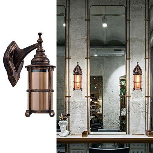 Waterproof Outdoor Light, Oil Rubbed Bronze Finish Rustic Exterior Wall Sconces Fixture Industrial Glass Shade Lantern Lighting Retro Lamp Metal Farmhouse Indoor Sconce for Bedroom Porch(2 ()