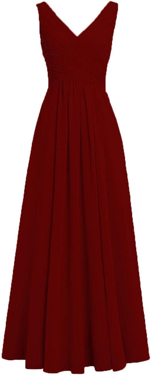 HUINI Brautjungfernkleider R/ückenfrei Lang V-Ausschnitt Chiffon A-Linie Abendkleider Ballkleider Festliche Kleider Hochzeit