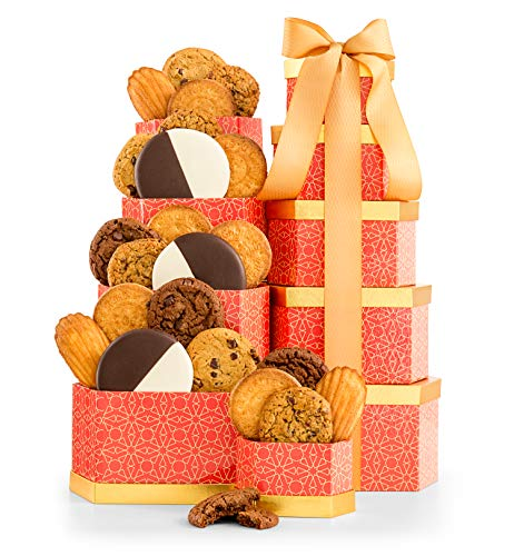 GiftTree Cookie Classics Tower | Chocolate Brownie, Cranberry Oatmeal, Chocolate Chunk & More | Five (5) Box Tower | Sweet Gift For Someone Special ()
